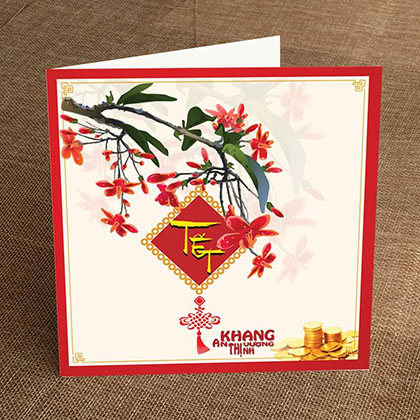 Thiệp In Tết Vuông