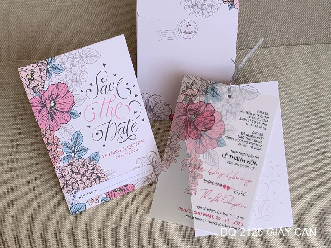 Thiệp cưới hiện đại kết hợp với giấy can