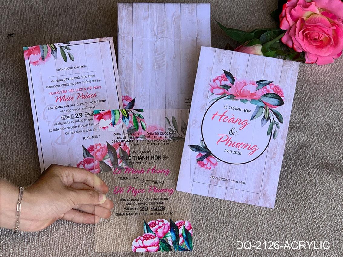 Thiệp cưới  đặc biệt với Acrylic in mực UV nổi